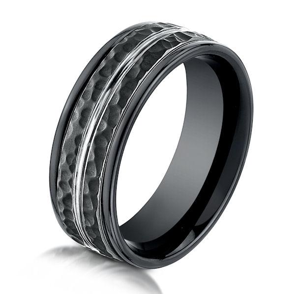 b63864bc black cobalt chrome hammered ring