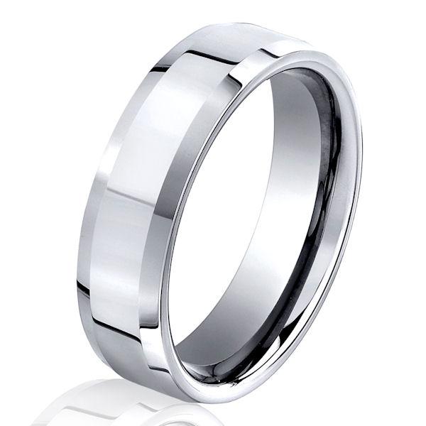 B73104C Cobalt Chrome Beveled Wedding Ring