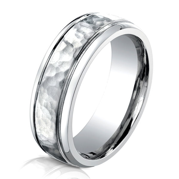 item b73180c cobalt chrome hammered wedding ring - Cobalt Wedding Rings