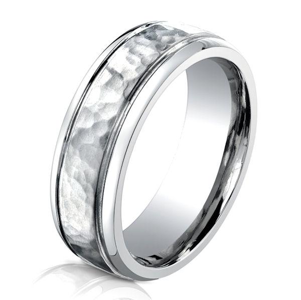 B73180C Cobalt Chrome Hammered Wedding Ring