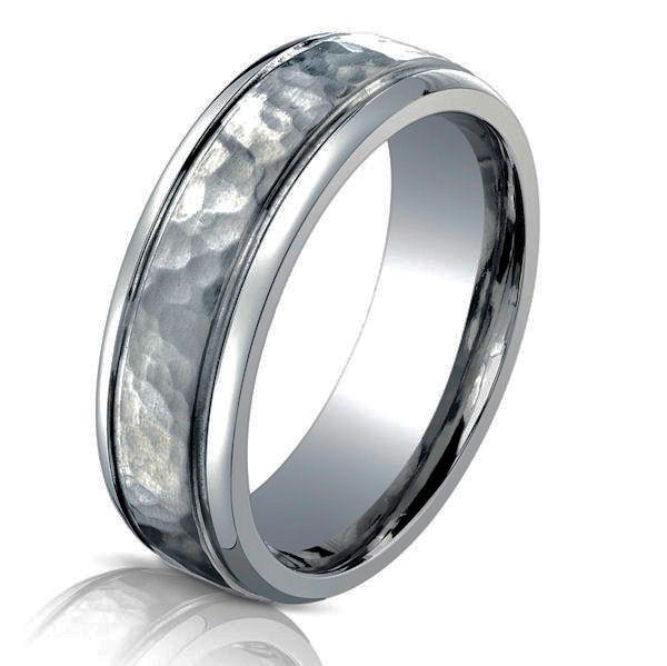 B TI Titanium Classic Hammered Wedding Ring