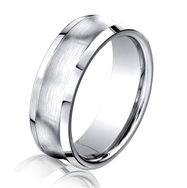 B73233C Cobalt Chrome Concaved Wedding Ring