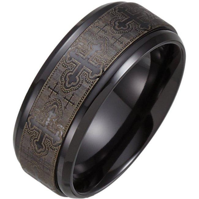 b74778ti black titanium cross wedding band