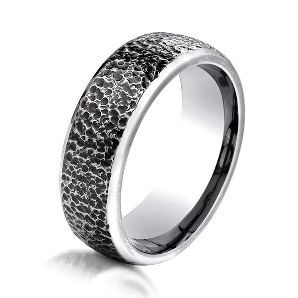 B83198C Black Cobalt Chrome Hammered Wedding Band