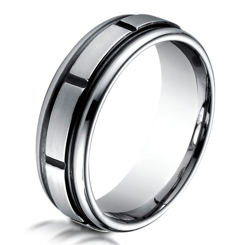 B83352C Black Cobalt Chrome Classic Wedding Ring