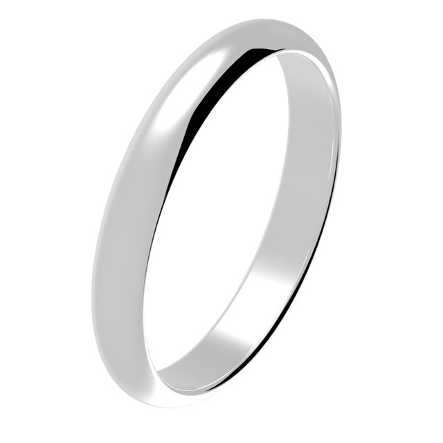 Wedding Ring 14 Kt White Gold Comfort Fit 3 mm Wide