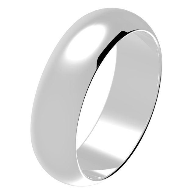 Wedding Band 14Kt White Gold Comfort Fit