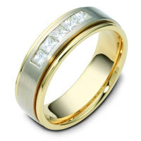 18K Two-Tone Diamond Wedding Ring