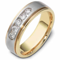 Platinum and 18K gold Diamond Wedding Band.