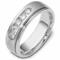 14K White Gold Wedding Band.