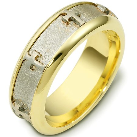 18 Kt Two-Tone Cross Wedding Band