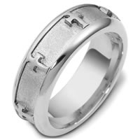 14 Kt White Gold Cross Wedding Band