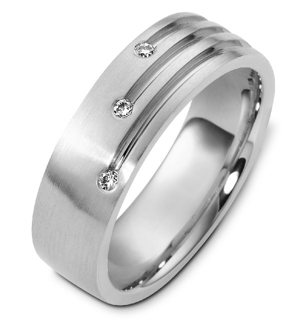 C124431PD Contemporary Palladium Diamond Wedding Band