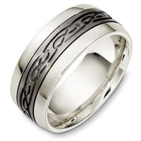 Titanium and 14 Kt White Gold Wedding Band