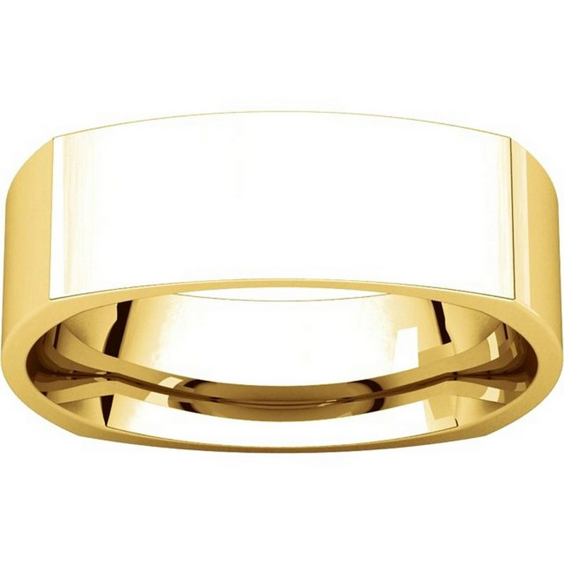 Item # C131621E - 18K Yellow Gold 6.0 mm Square Wedding Band View-3