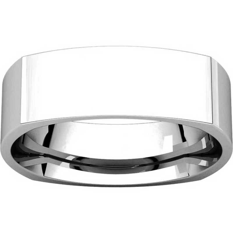 Item # C131621W - 14K White Gold 6mm Wide Square Mens Wedding Band View-3