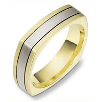 18 Kt Two-Tone Square Wedding Band