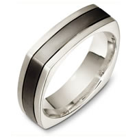 Titanium-White Gold Square Wedding Band