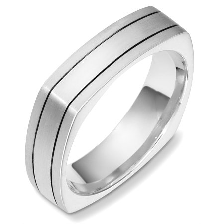 18 Kt White Gold Square Wedding Band