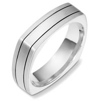 14 Kt White Gold Square Wedding Band