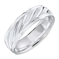 Item # C13727W - White Gold Carved Wedding Ring