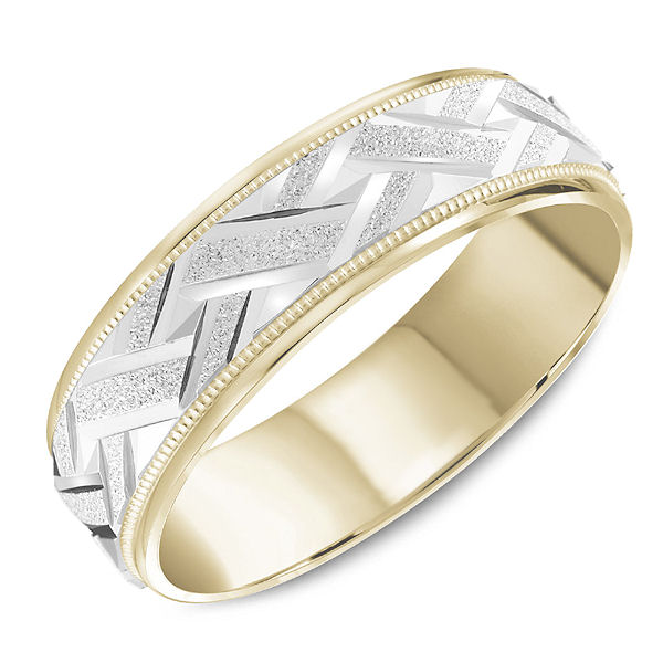 Item # C13749 - Two-Tone Milgrain Carved Band View-1