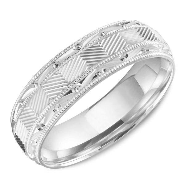 Item # C13758WE - 18Kt White Gold Carved Design Milgrain Band View-1