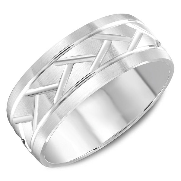 Item # C13766WE - Carved White Gold Wedding Ring  View-1