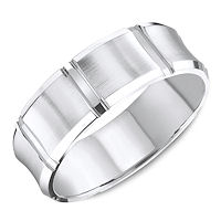 white gold carved beveled wedding ring - Contemporary Wedding Rings