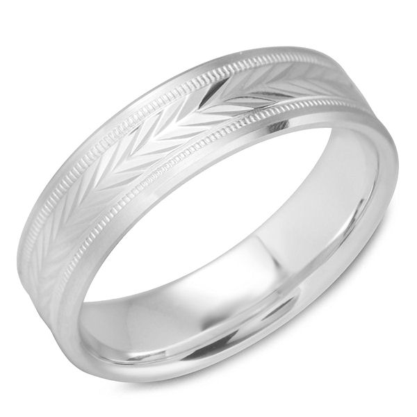 Item # C15217WE - 18Kt White Gold Carved Band View-1
