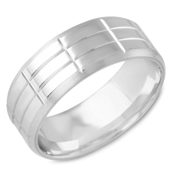 Item # C15218WE - 18Kt White Gold Carved Wedding Ring  View-1
