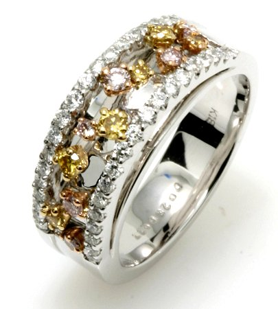 White, Yellow and Pink Diamonds Anniversary Band