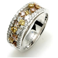 Item # E245070WE - White, Yellow and Pink Diamonds Anniversary Band