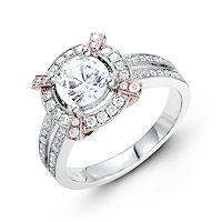 Item # E31946 - Vintage Rose & White Gold Halo Engagement Ring