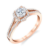 Item # E32144RE - Rose Gold Halo Diamond Engagement Ring