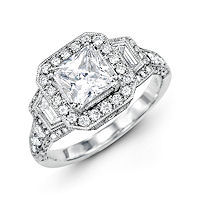Item # E32209WE - Vintage Princess Cut Halo Engagement Ring