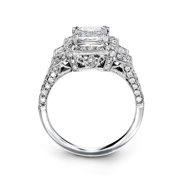 Item # E32209WE - Vintage Princess Cut Halo Engagement Ring View-2