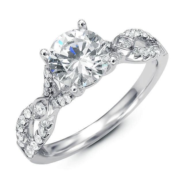 Item # E32354W - Twisted Diamond Engagement Ring View-1