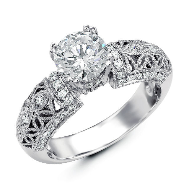Item # E32562PP - Vintage Diamond Engagement Ring View-1