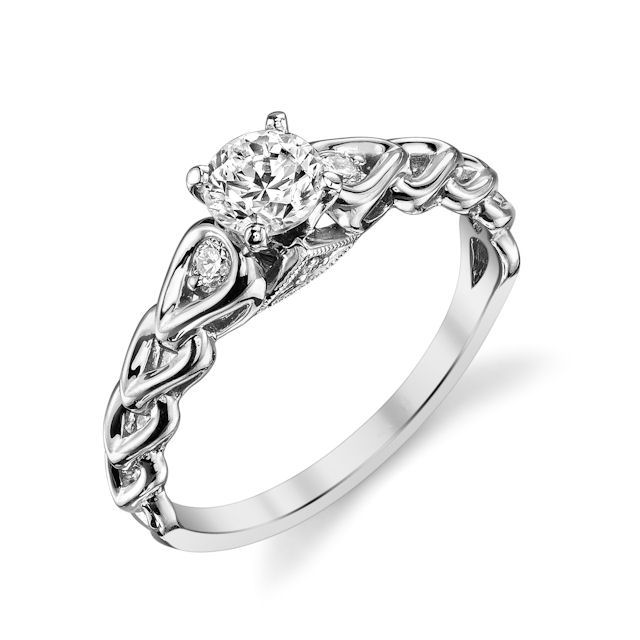 Platinum Sculptural Diamond Engagement Ring