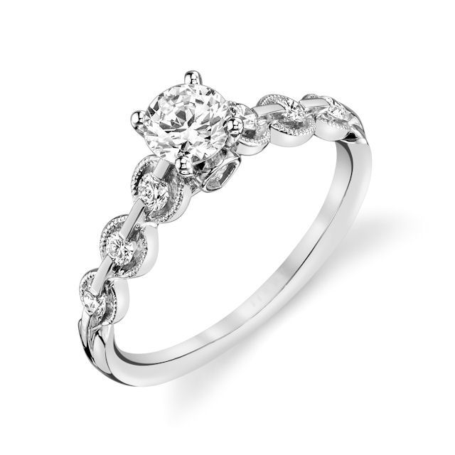 Item # E32596WE - Petite Diamond Engagement Ring View-1