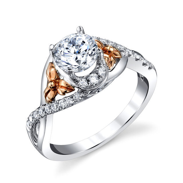 Item # E32740E - Rose & White Gold Diamond Engagement Ring View-1