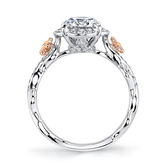 Floral Diamond Halo Engagement Ring