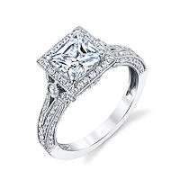 Item # E32754W - Princess Cut Vintage Engagement Ring