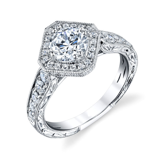 Item # E32889W - Round Halo Vintage Engagement Ring View-1