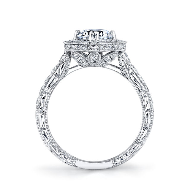 Item # E32889W - Round Halo Vintage Engagement Ring View-2