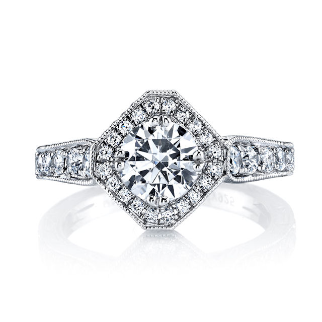 Item # E32889W - Round Halo Vintage Engagement Ring View-3