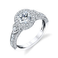 Item # E32959WE - Vintage Diamond Halo Engagement Ring