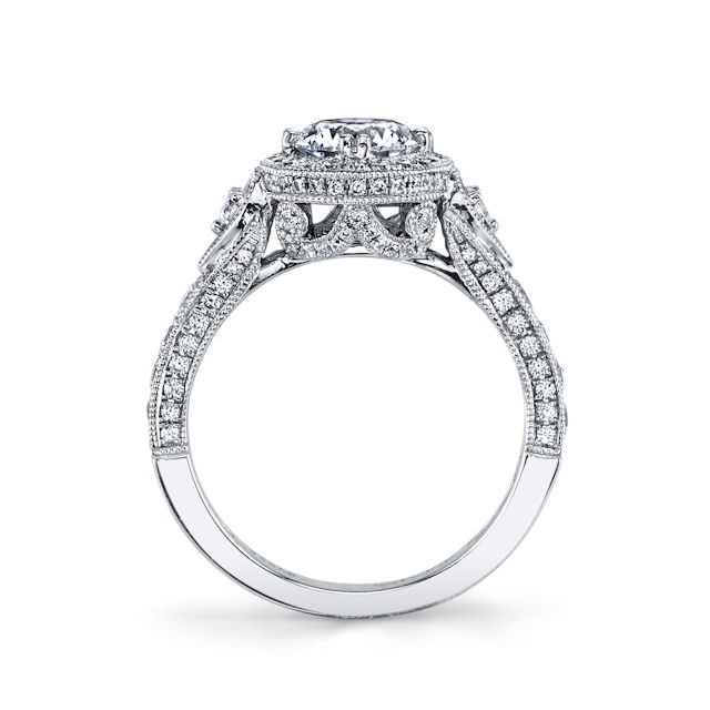 Item # E32959W - Vintage Diamond Halo Engagement Ring View-2