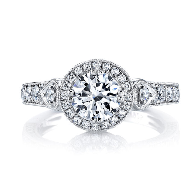 Item # E32959W - Vintage Diamond Halo Engagement Ring View-3